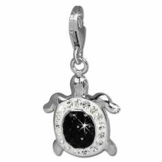 Amazon.com: SilberDream Glitter Charm turtle with black and white Czech crystals 925 Sterling Silver Charms Pendant with Lobster Clasp for Charms Bracelet, Necklace or Earring GSC536S: SilberDream: Jewelry