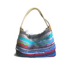 Bohemian shoulder kilim bag medium size jute rope by maslinda, $65.00