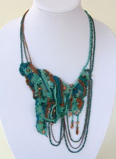 Freeform beadwoven necklace designed by Mandi Ainsworth