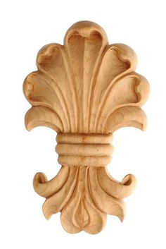 "CorbelPlace.com | Applique / 3-1/4""H X 2""W X 1/2""D - embossed wood, kitchen cabinet appliques, oak appliques,carved wood molding, large appliques, decorative wood appliques for furniture, wooden flowers for sale 
