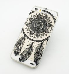 """Clear Plastic Case Cover for iPhone 6Plus (5.5"""") Black Henna Ojibwe Dreamcatcher tribal dream catcher mayan aztec ethnic american indian"""