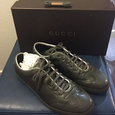 Men's Gucci Sneaker Military green. Like new condition. Authentic & comes with box. Extra pair of laces included. No trades. Gucci Shoes Sneakers