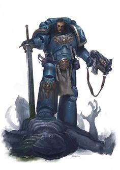 Space Marine by Adrián Prado on ArtStation at… Warhammer Paint, Warhammer 40k Art, Warhammer Fantasy, Warhammer Games, Fantasy Heroes, Sci Fi Fantasy, Prado, Ultramarines, Deathwatch