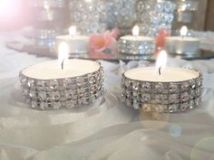 Rhinestone tealights 100 Rhinestone candles by EventbyEunice, $30.00