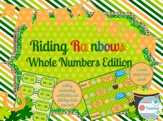 A St. Patrick's Day Math Center Game for Adding, Subtracting, Multiplying, and Dividing Whole Numbers! Students will have a blast while practicing their math equations. Students will draw a card, and if they answer the question correctly they will get to roll the die and move forward on the game board. They may land on an orange spot where they get to do something extra. If they are REALLY lucky they will land on a blue cloud and get to ride a rainbow to a pot of gold to get ahead!