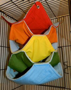 Rainbow Light Blue Fleece Hammock For Small Animals - I love the multiple compartments. My chinchillas would have so much fun in this.