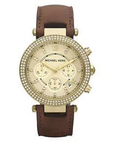 Michael Kors Watch, Women's Chronograph Parker Chocolate Brown Leather Strap 39mm MK2249 - For Her - Jewelry & Watches - Macy's $225