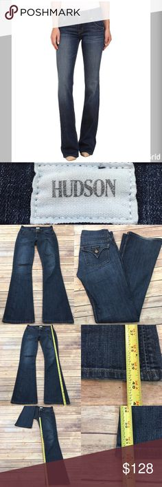 Size 25 Hudson Signature Mid Rise Bootcut Jeans Measurements are in photos. Normal wash wear, some wear on bottom hems, no other flaws. F3  I do not comment to my buyers after purchases, due to their privacy. If you would like any reassurance after your purchase that I did receive your order, please feel free to comment on the listing and I will promptly respond. I ship everyday and I always package safely. Thanks! Hudson Jeans Jeans Boot Cut