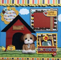 PUPPY-Tear-Bear-Paper-Piecing-Premade-Page-Layout-4-Album-ELITE4U-3paperwishes