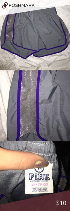 """Grey Workout Shorts VS Pink Workout Shorts. (Using Nike for the exposure) I only wore them a couple times, I just don't like the color purple! They're grey with purple seams on the sides. They're lined on the inside as well, perfect for running. Price is negotiable, just use the """"offer"""" button! *Check out the rest of my closet & bundle for a discount 😜 PINK Victoria's Secret Shorts"""