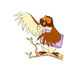 100 Acre Wood Cartoon Character Owl with Book