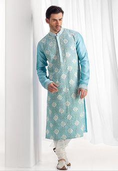 Chanderi fabric kurta churidar with all over resham embroidery