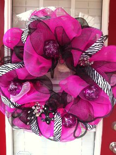 Pink Whimzy Deco Mesh Wreath by Domesticdiva3 on Etsy, $60.00