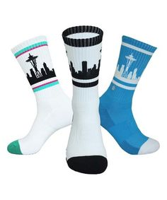 Another great find on #zulily! White & Blue Seattle Three-Pair Socks Set…