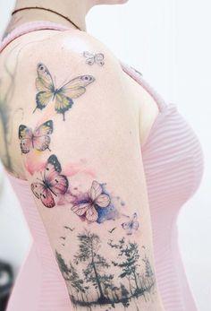 Butterflies and trees sleeve tattoo - Amazing Butterfly Tattoo Designs ♥ . - Butterflies and trees sleeve tattoo – Amazing Butterfly Tattoo Designs ♥ ♥ - Great Tattoos, Body Art Tattoos, Girl Tattoos, Small Tattoos, Tattoos For Guys, Flower Tattoos, Tattoos Pics, Henna Tattoos, Tattoos Tribal