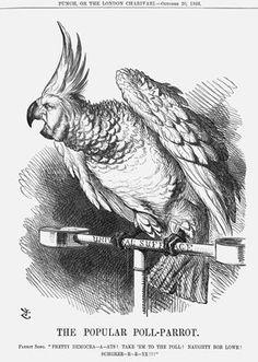 John Tenniel Punch - The popular poll-parrot John Tenniel, Lewis Carroll, Political Cartoons, Art History, Punch, Knight, Illustrations, Parrot, Artist