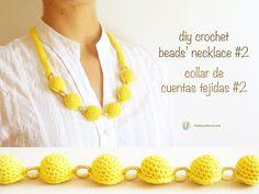 Free crochet pattern for beads' necklace #2/ Patrón gratis para collar de cuentas tejidas #2