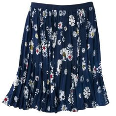 Jason Wu for Target Navy Floral Pleated Skirt - Size 10. Made of shell and line polyester.