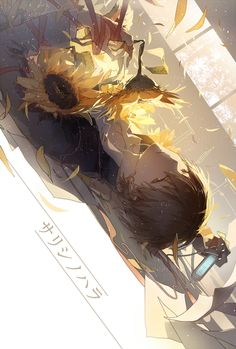 Anime Guy With sunflowers Wallpaper