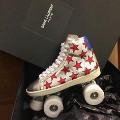 Saint Laurent silver/red metallic roller skates #insidebg #saintlaurent #saintlsurentparis #saintlaurentshoes #saintlaurentrollerskates #rollerskates #ysl #yslrollerskates #bergdorfgoodmansalonshoes #bergdorfgoodman #xanadu