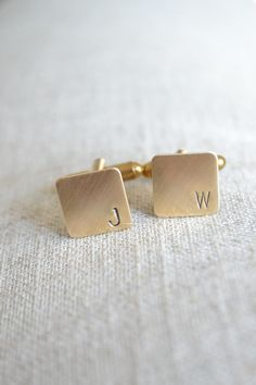 White Truffle Studio — Personalized Initial Mini Cufflinks - Hand Stamped in Brass
