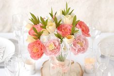 Diy, Table Decorations, Home Decor, Alice, Pink Peonies, Yellow Flowers, Crepe Paper, Paper Strips, Paper Flower Wedding Bouquets