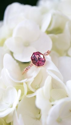 Pink Tourmaline Engagement Ring with Diamonds in Rose Gold