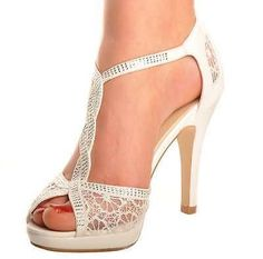 Off White Lace Diamante Platform Wedding Sandals Heels T-Bar Peeptoe Shoes