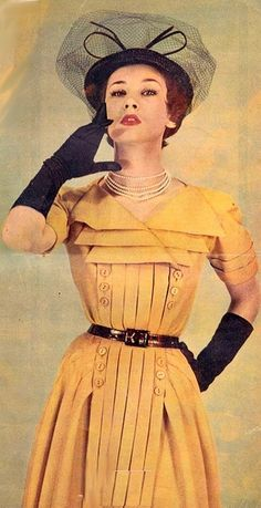 1950s fashion ... gloves, hat, pearls, belt, lipstick, and beautiful yellow number with unique pleat and button details. #1950sfashion #50sdresses #1950s