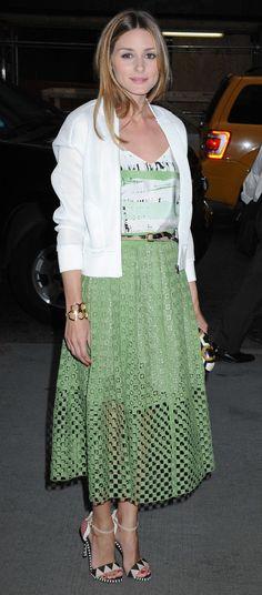 Olivia Palermo Eyelet skirt + bomber jacket