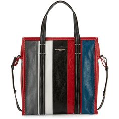 Balenciaga Bazar Small Striped Leather Shopper Tote Bag (€1.375) ❤ liked on Polyvore featuring bags, handbags, tote bags, shopping tote bags, zip top tote bag, leather zip tote, genuine leather tote and handbags totes