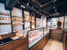 (shelves on tile) Bones & Blades, Hong Kong - Butcher Shop - Meat Shop Interior Design, Retail Design, Store Design, Interior Paint, Butcher Store, Butcher Shop And Grill, Carnicerias Ideas, Boutique, Meat Store