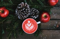 red coffee latte on white ceramic mug Cozy Christmas coffee Christmas Coffee, Cozy Christmas, Christmas Photos, Family Christmas, Christmas Calendar, Holiday Images, Christmas Foods, Christmas Things, Christmas Activities