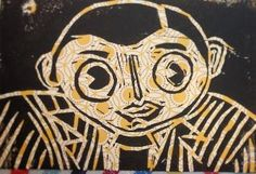 Frank Sidebottom Hand made lino Print A6 by Printmiscuous on Etsy