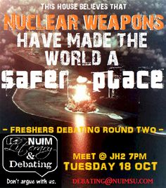 """Debate: """"That Nuclear Weapons have made the world a safer place""""    - The image of a atomic bomb blast is always best when reflected by water for best impact"""