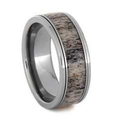 Unique Antler Ring Titanium Wedding Band Spinner by jewelrybyjohan