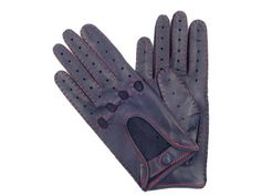These gloves are made of navy lambskin, in a classic design with red manual sewing.They close with a leather dressed snap at the wrist. Leather Driving Gloves, Leather Gloves, Navy Women, Leather Accessories, Lambskin Leather, Manual, Sewing, Hats, Classic