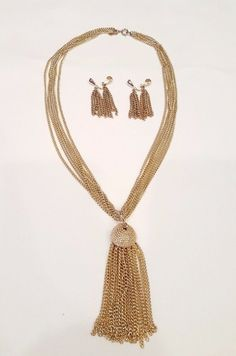Vintage Sarah Coventry Gold Tone Necklace w/ Removable Tasseland Clip Earrings #SarahCoventry