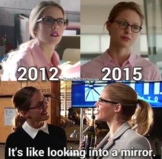 """Felicity Smoak and Kara Zor-El """"It's like looking into a mirror"""" #crossover #Arrow #Supergirl"""