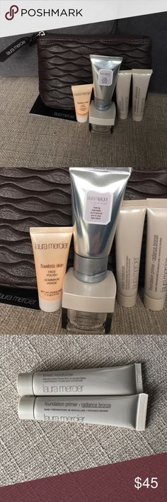 LAURA MERCIER COSMETIC POUCH WITH TRAVELS NEW 💄PRICE FIRM UNLESS BUNDLED 💄I DO NOT TRADE 💄CHECK OUT MY BUYERS REVIEWS 💄I HAVE MANY BEAUTY ITEMS LISTED . I HAVE A FEW LAURA MERCIER KITS LISTED. ALL NEW & FRESH  : Contains a beautiful leather like COSMETIC pouch with all travel sizes :  1 fresh fig body butter 1 oz , foundation primer radiance bronze 0.5 fl.oz, tinted moisturizer SPF 20 nude 0.5fl.oz., flawless skin moisture creme SPF 15 0.17oz. 1-flawless finish face polish 0.4 oz…