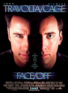 Face/Off is a 1997 American action thriller film directed by John Woo, starring Nicolas Cage and John Travolta. The two both play an FBI agent and a terrorist, sworn enemies who assume the physical appearance of one another. Film Movie, Film D'action, Bon Film, See Movie, Movie List, Face Off, Face Face, John Travolta, Movies Showing