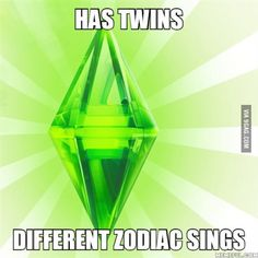 The Sims... Has twins! Have different zodiack signs