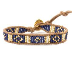 Blue Mix Beaded Cuff Bracelet on Beige Leather - Chan Luu