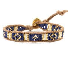 Blue Mix Beaded Cuff Bracelet on Beige Leather - Chan Luu