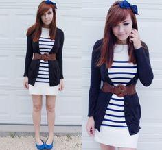 vestido de listras navy
