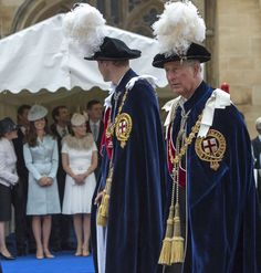 Catherine, Duchess of Cambridge and Sophie, Countess of Wessex watch as Prince William, Duke of Cambridge and Prince Charles, Prince of Wales arrive to attend the Most Noble Order of the Garter Ceremony from the Galilee Porch on June 16, 2014 in Windsor, England.