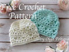 Newborn Hat with Lace Design, Free Crochet Pattern