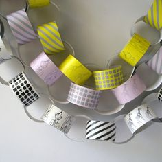 Paper chains by Lox & Savvy - Xmas chains repurposed! Love this idea but in teal, orange, blues and reds Movie Party, Party Time, Crafts To Do, Crafts For Kids, Going Away Parties, Paper Chains, Teal Yellow, Spa Party, Event Decor
