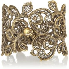 Alexander McQueen Burnished gold-tone Swarovski crystal cuff ($530) ❤ liked on Polyvore featuring jewelry, bracelets, alexander mcqueen, bracelets & bangles, gold, skull jewelry, swarovski crystal cuff bracelet, gold tone cuff bracelet and hinged cuff bracelet