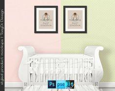 Nursery Interior #7 Set of 8x10 Black Portrait & Square Matted Frames, Nursery Baby Crib, 4 Print Display Mockups, PNG PSD PSE Custom colors